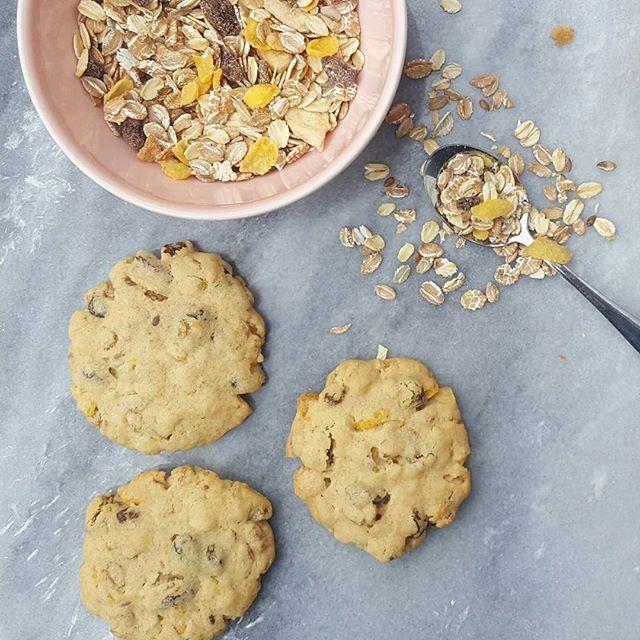 Afgelopen weekend koekjes gebakken met mijn mannetje. Geen zin om boodschappen te doen dus de voorraad kast in gedoken. Het resultaat: rozijn muesli koekjes, jammie! Recept staat nu online, link in profiel.  #muesli #koekjes #mueslikoekjes #granola #rozijn #oats #homemade #homebaked #smullen #zelfgemaakt #bakken #liekesmult