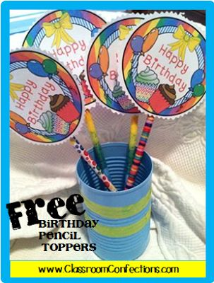 FREE Birthday Pencil Toppers