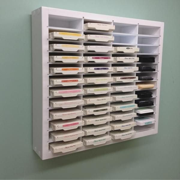 """The 48 Ink Pad organizer organizer holds up to 48 of most of the popular ink pads including Stampin' Up, Close To My Heart, Versamark and more!. Shelves are a full 3.5"""" deep for stable storage. Perfec"""