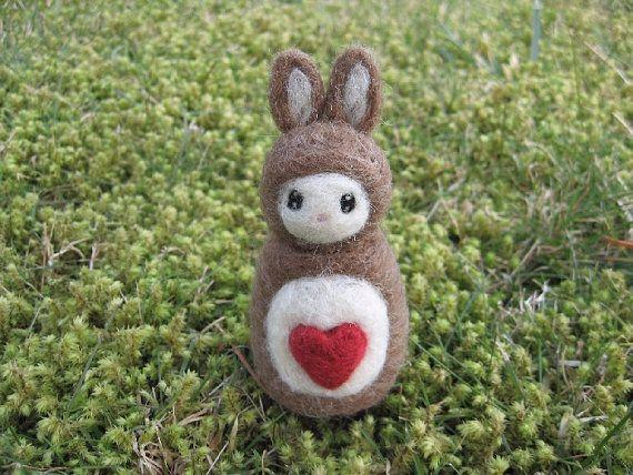 Little Love Bunny Needle Felted Figure by LittleElfsToyshop, $18.00