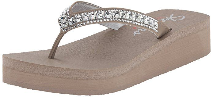 Amazon.com | Skechers Cali Women's Vinyasa-Treasure Trove Flip Flop, White Gem, 9 M US | Flip-Flops