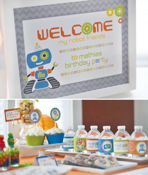 cute robot party welcome poster