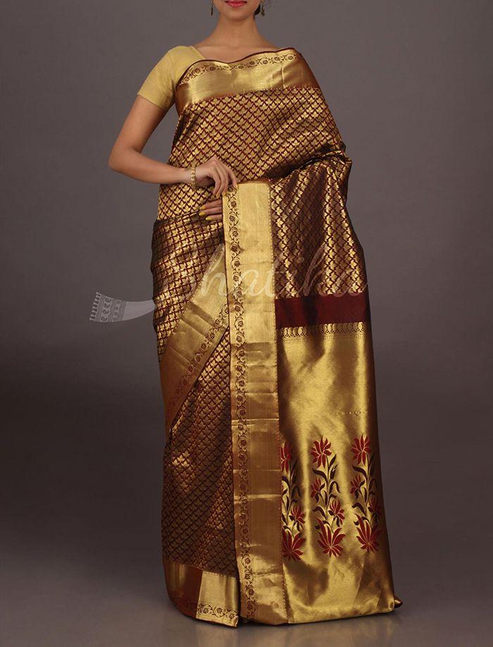 Varuni Chocolate Brown Full Ornate Festive Pure #SalemSilkSaree