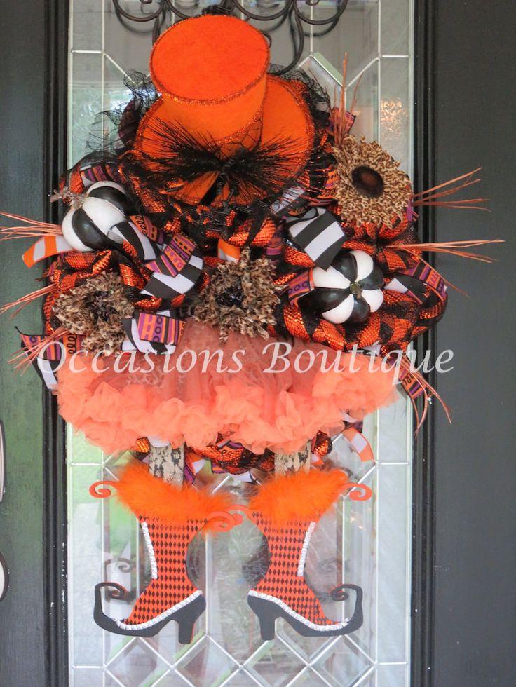 XL Halloween Wreath, Wicked Witch Wreath, Halloween Decoration, Fall Wreath, Door Hanger, Front Door Wreaths, Pre-Order by OccasionsBoutique on Etsy