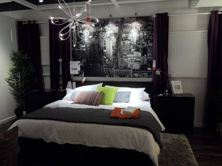 Ikea: urban chic bedroom with large modern city art