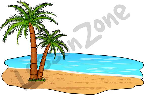 "This illustration, ""Palm tree on beach"" is available in PNG format at 300 DPI resolution with a transparent background for classroom use. This illustration is also available in black and white  To download, visit lessonzone.com.au"