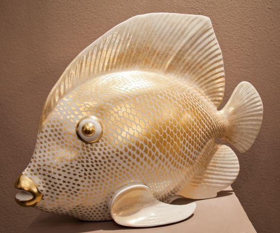 Porcelain Fish, painted gold