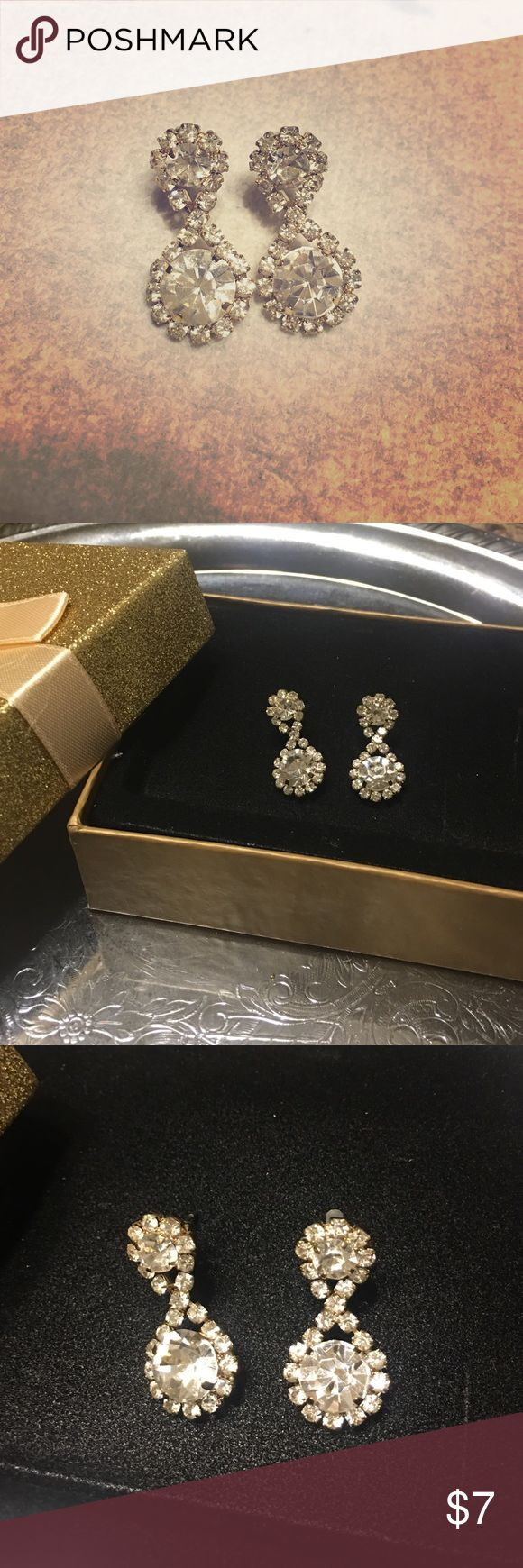 Charming Charlie Formal Gold Dangle Earrings Formal gold earrings with rhinestone and cubic zirconia accents Charming Charlie Jewelry Earrings