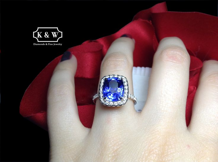 Happy Birthday #September babies! Your birthday present: this bold blue Sapphire cocktail ring with a diamond halo! The Sapphire symbolizes royalty, truth and romance.