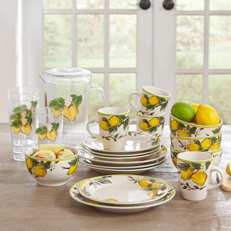 16 Pc Lemon Dinnerware Set Dining Entertaining Brylane Home In 2020 With Images Dinnerware Set Dinnerware Al Fresco Dining