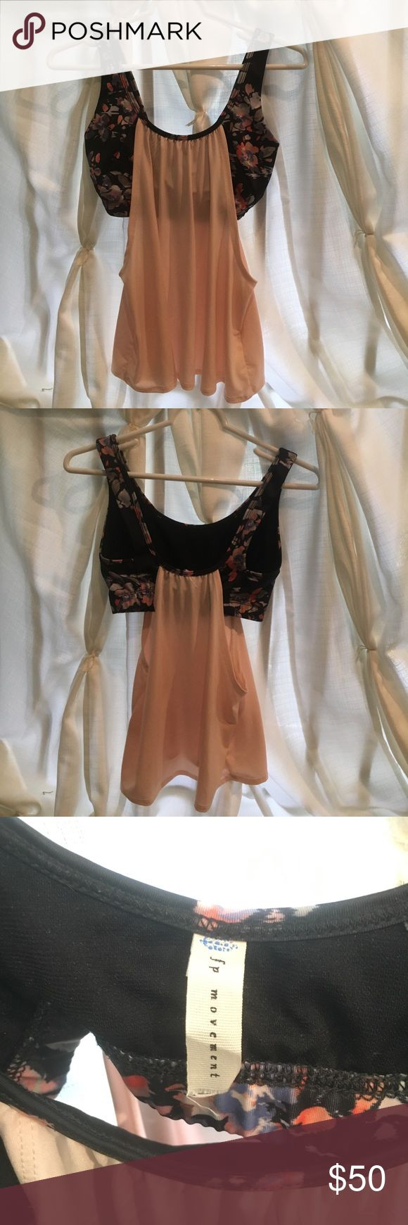 Free People Movement Top Pretty floral sports bra with flowy light pink overlay. Excellent barely used condition. 🌺 This one's a beauty, especially for Springtime! FP size S/M Free People Tops