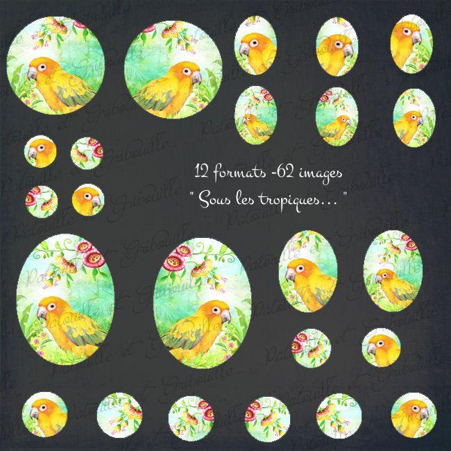"""62 images digitales """"Sous les tropiques"""" - 12 formats - à imprimer : Cabochons, demi-perles par patouille-et-gribouille"""