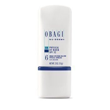 Obagi Nu Derm Physical Uv Block SPF 32 by Obagi Medical. $34.95. 18.5% zinc oxide protection to newly formed skin cells. Broad-spectrum protection. All skin types. No irritation. Obagi Nu-Derm Physical UV Block SPF 32 -- 2 oz.  Obagi Nu-Derm Physical UV Block SPF 32 is a sunscreen with 18.5% zinc oxide that helps to protect the newer, healthier skin created by skin transformation. Obagi Physical UV Block SPF 32 provides broad-spectrum protection from the sun. The sun ...