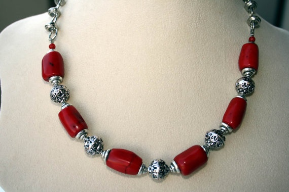 SOLD Coral and Silver Necklace by BigSkiesJewellery