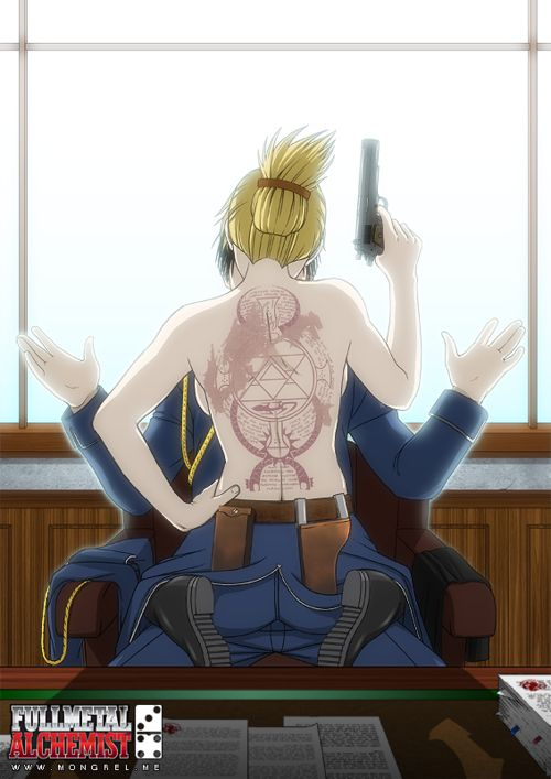 Riza Hawkeye and Roy Mustang (I can't help but pin this, it's the only mildly-sexual thing for them that actually fits.)