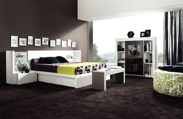 Decoration Chambre Adulte Marron Contemporaine : Chambre a coucher noir moderne various ideas pinterest