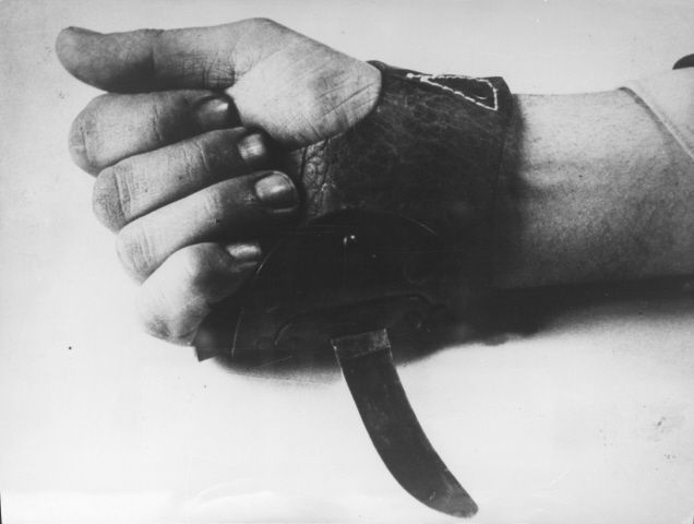 A special gloved knife used by the Ustaše (Croatian fascist military group) for the quick slaughter of prisoners at Jasenovac Concentration Camp in Croatia.  Jasenovac was the only camp not operated by the Germans, and was among the largest in Europe.  An estimated 100,000 people were killed there during WWII.