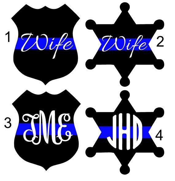 Police or Deputy Wife Thin Blue Line Decal Yeti by TwistedOakRoo