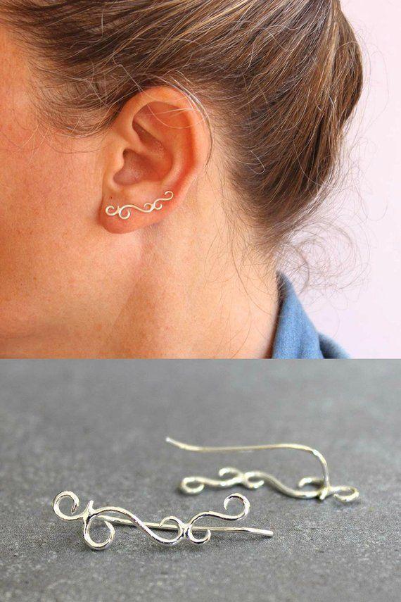 Ear cuff, Sterling silver ear crawler, swirl earrings, filigree earrings, Ear climber, valentines earrings