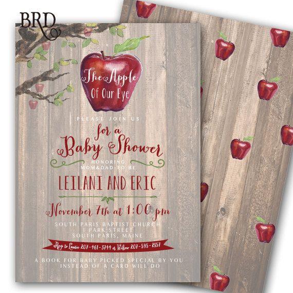 Apple of My Eye Invitation Fall Baby by BradfordPartyDesigns