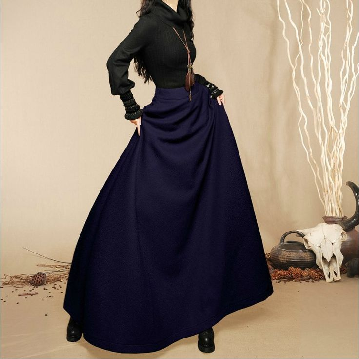 2014 New fashion autumn winter women's long skirt ladies' woolen skirt with pockets solid color high waist maxi skirt 5 colors