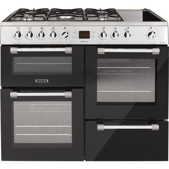 Piano de cuisson table gaz-5 foyers-5,8kWh-Fours électrique:3 cavités 2 four+1 grill-58-60L-A-Inox