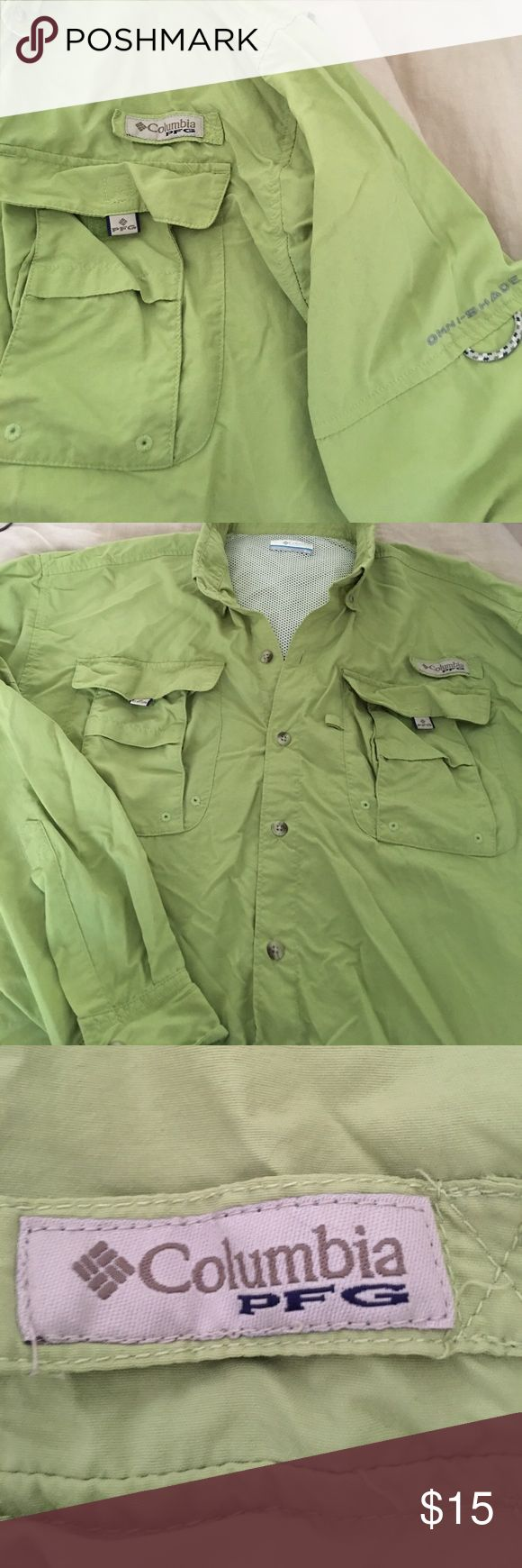 Columbia PFG shirt/jacket Lime green Columbia with Omni Shade - great for hiking or used as a cover up at lake or camping Columbia Tops