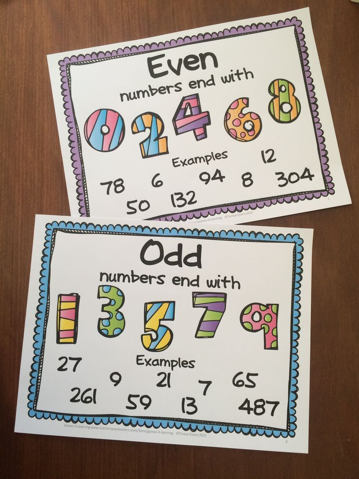 FREE Posters for Odd and Even Numbers.