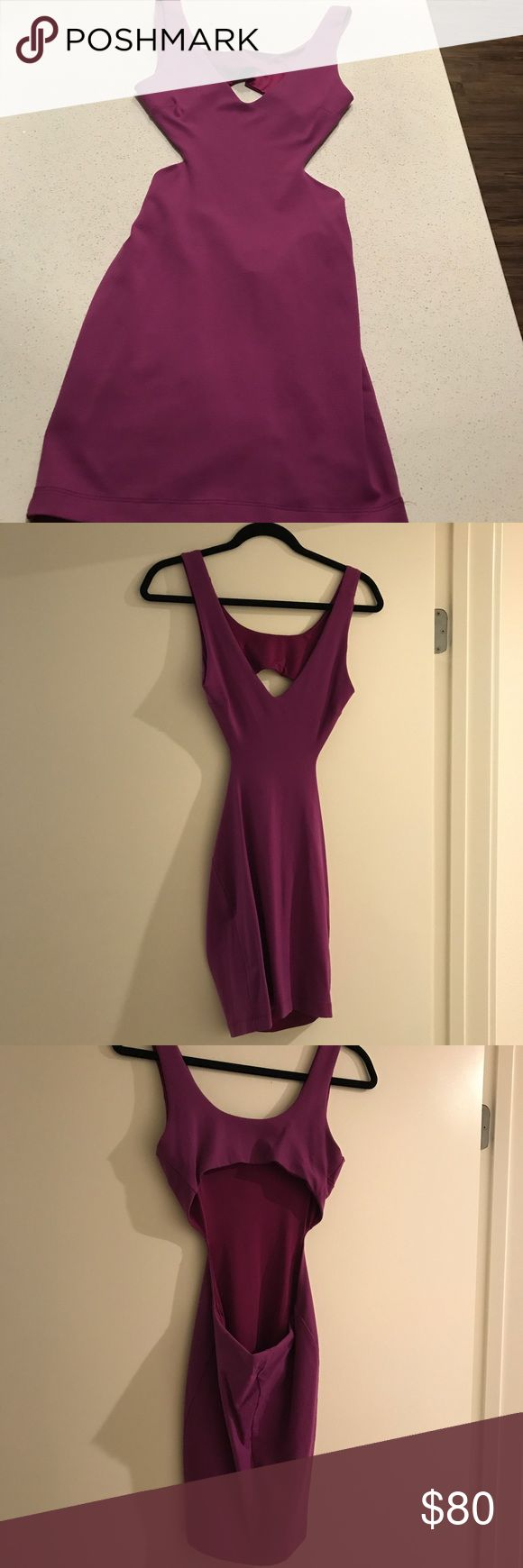 Bebe Purple Bodycon Dress -Bebe -Beautiful lilac purple dress -Tight fit -Low V-neck in the front and side cut-outs  -Sexy circle cut-out in the back  -Great for a date night, girls night out, birthday, dinner, dance, etc! -Very stretchy -Flattering style   -Size XS -Made in the USA bebe Dresses Mini