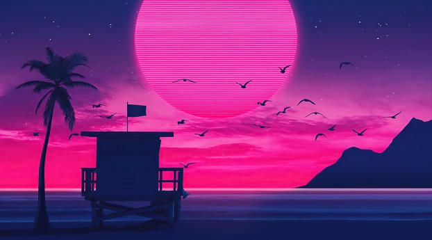 2560x1440 Beach Retro Wave 1440p Resolution Wallpaper Hd Artist 4k Wallpapers Images Photos And Background Wallpapers Den In 2021 Waves Wallpaper Retro Waves 80s Aesthetic Wallpaper
