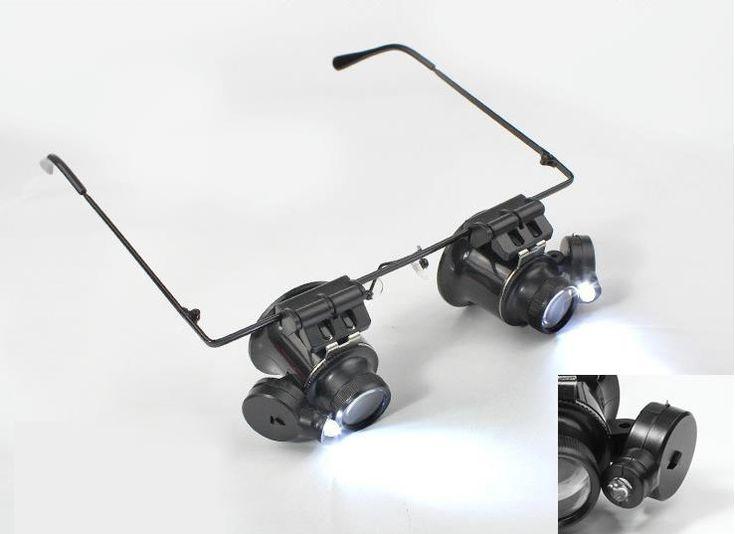 Binocular Magnifier With LED Light Clock Repair 20 Times
