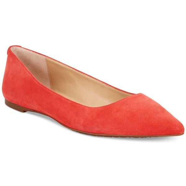 Michael Michael Kors Arianna Pointed-Toe Flats ($69) ❤ liked on Polyvore featuring shoes, flats, coral reef, flat pointed toe shoes, flat pumps, pointy toe shoes, flat heel shoes and coral flats