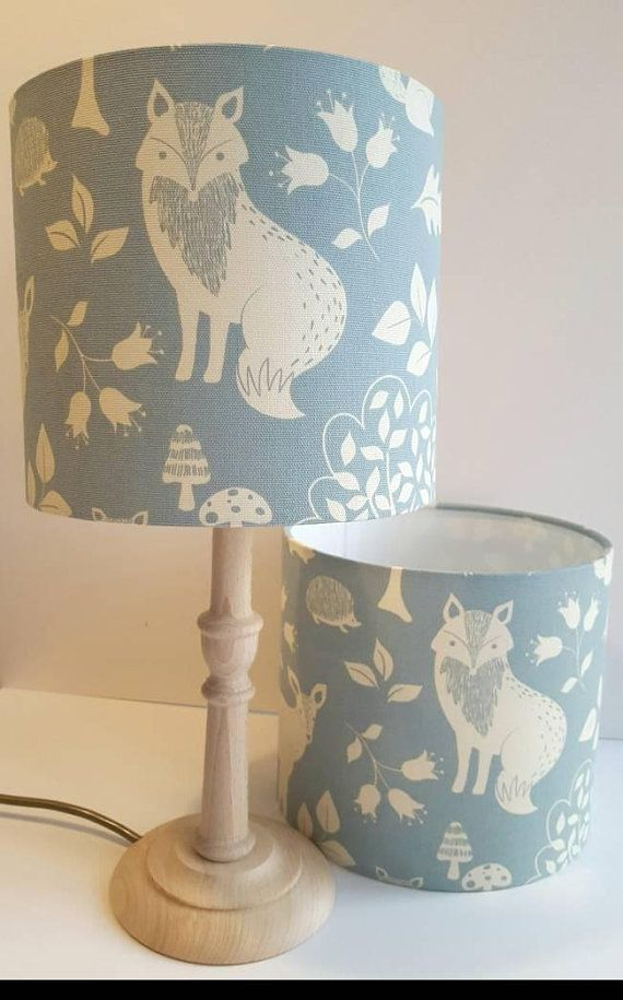 Woodland Lampshade In Grey And Cream Or Blue And Cream Https Www Etsy Com Uk Listing 546406772 Woodland Kids Lampshades Blue And Cream Bedroom Nursery Lamp