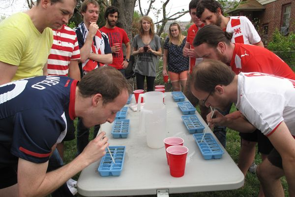 Beer Olympics!  Teams dress up like different countries and compete in drinking games..so fun!!