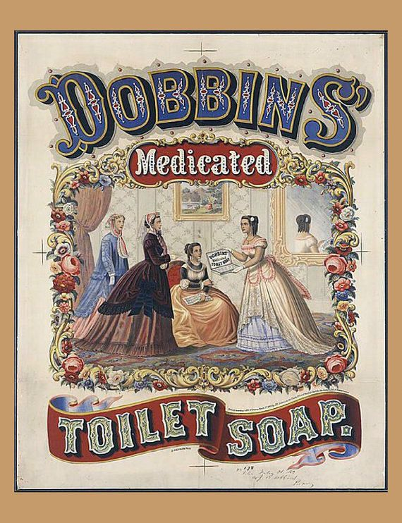 24x30 Dobbin/'s Medicated Toilet Soap 1860/'s Vintage Style Advertising Poster