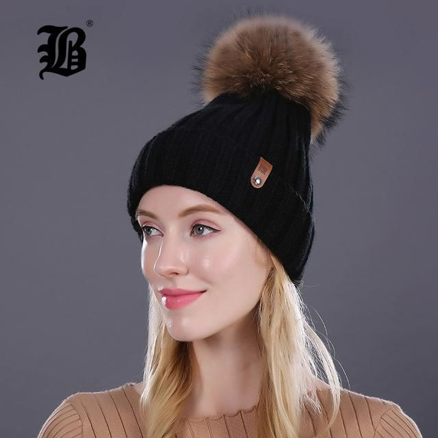 f06b2bc984c  FLB  Wholesale Mink And Fox Fur Ball Cap Pom Poms Winter Hat For Women  Girl  S Hat Knitted Beanies Cap Brand New Thick Female
