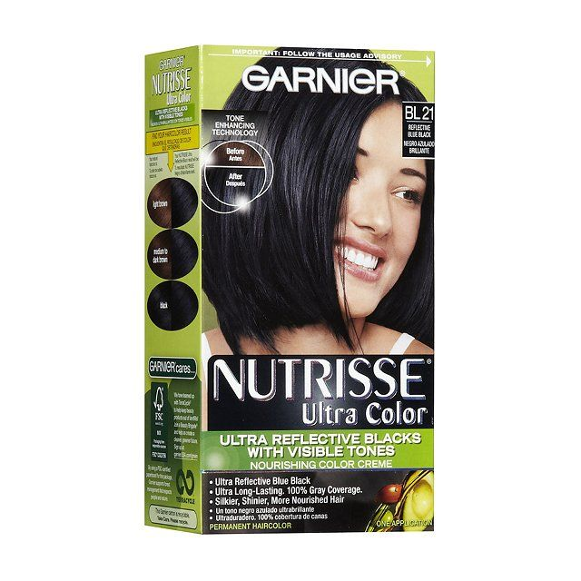 """The first time I dyed my hair, I had a professional do it, but I remember him telling me that I could do it myself—I started then and never looked back. Garnier Nutrisse has the bluest, bluest black. It's totally unnatural, but I love it. I've tried a few times to use more natural hair dyes, but I can't find anything as blue-black as this."" Garnier Nutrisse Ultra Color Hair Color in Blue Black, $8, ulta.com"