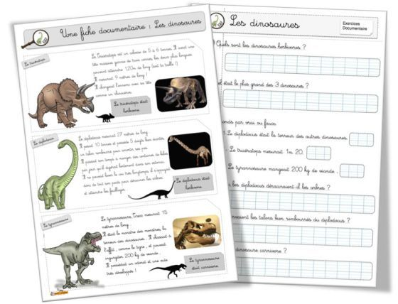 La fiche documentaire et les exercices sur le diplodocus , le tyrannosaure et le tricératops : les 3 dinosaures évoqués dans la fiche sur les dinosaures: ici