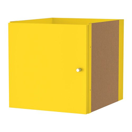 IKEA - KALLAX, Insert with door, yellow, , The insert looks nice in a room divider as the back has also been finished.Easy to assemble.