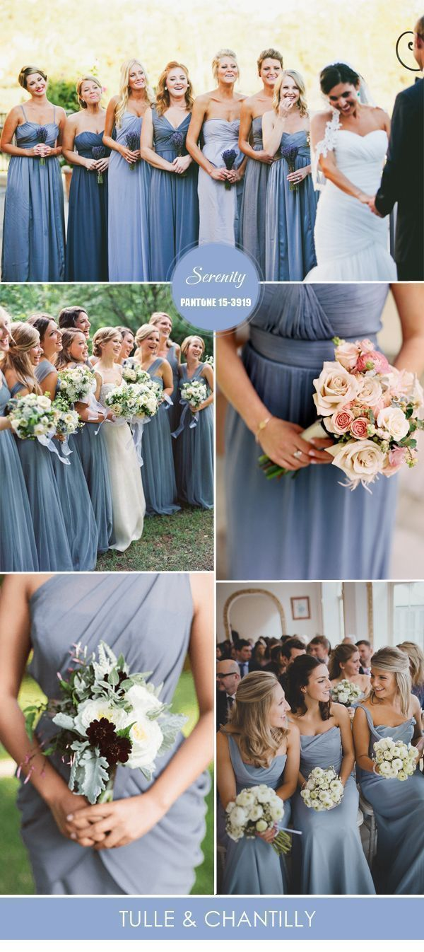 serenity light blue bridesmaid dresses from Pantone spring colors 2016