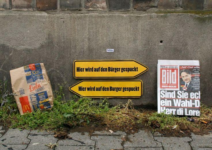Streetart von Barbara : Hier wird auf den B*rger gespuckt   Atomlabor Wuppertal Blog