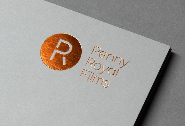 Penny Royal Films letterhead with copper block foil print finish designed by Alphabetical