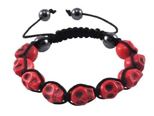 Tibetan Prayer Beads Red Skull Bracelet, Skull Beads, Skull Prayer Beads Wrist Mala Shamballa Bracelet Hinky Imports. $9.99. Made from Magnesite (Dyed) Gemstone Beads. Shamballa Bracelet-Protects You from Evil Spirits. Adjustable Size: One Size Fits All. Handmade in Nepal. Bead Size: 12mm