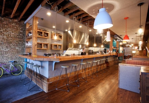 (Yusho / ) - The open kitchen and bar area at Yusho, a new Japanese-inspired restaurant in Chicago.
