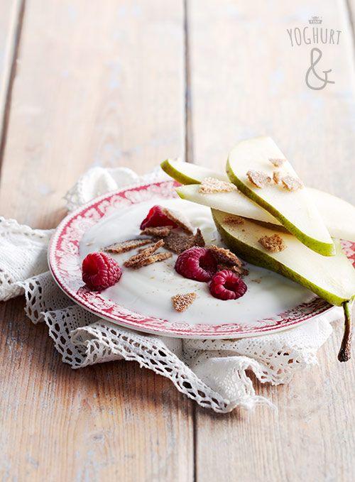 Yoghurt & Rugsprø & Bringebær & Pære - Se flere spennende yoghurtvarianter på yoghurt.no - Et inspirasjonsmagasin for yoghurt.