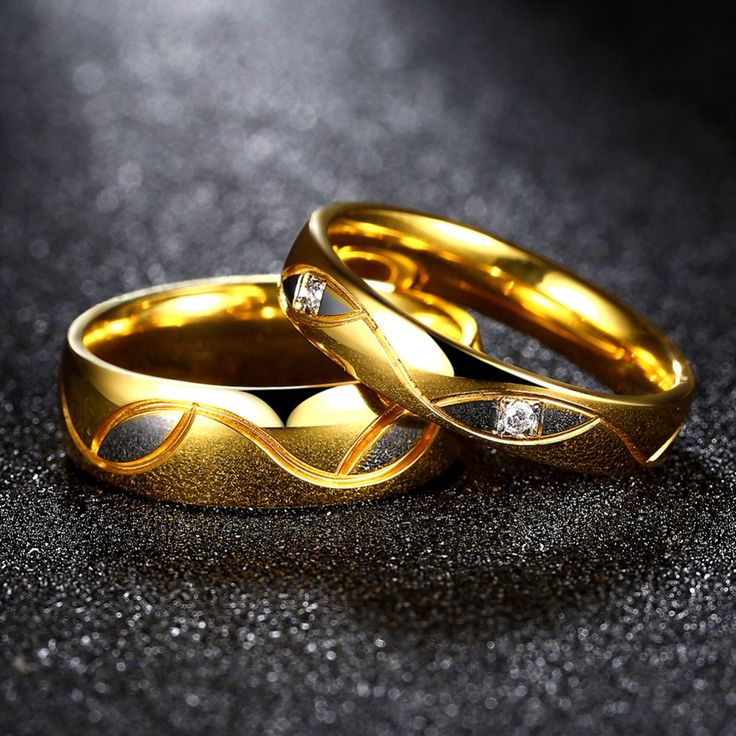 Fashion Wedding Brand Ring Gold Plated Pair Rings Set For Men Women Designer Couple Rings With Cuvy Strip Two Tone Gold Plated