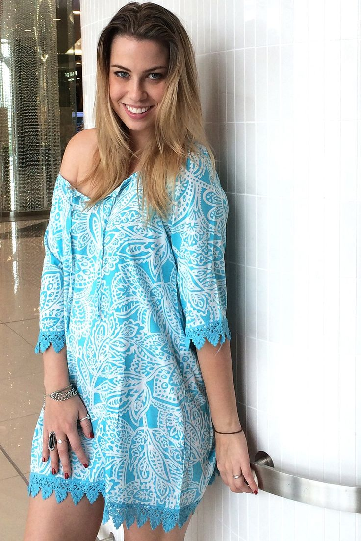 Angie Dress in Turquoise Mono Print $49.99