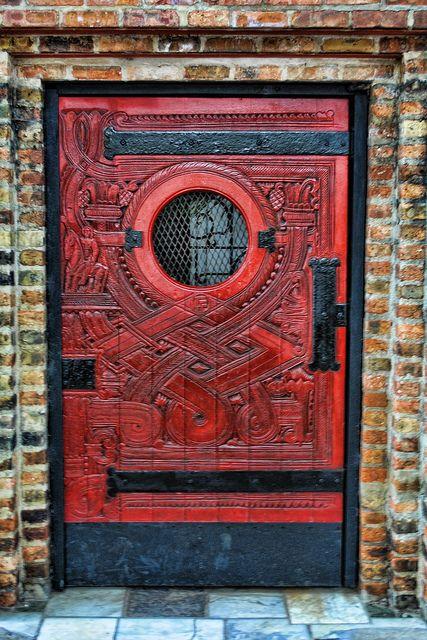 Ornate red door.