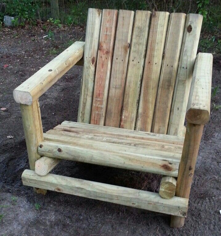 Landscape timber chair i built in about and hour took 8 for Landscape timber bench