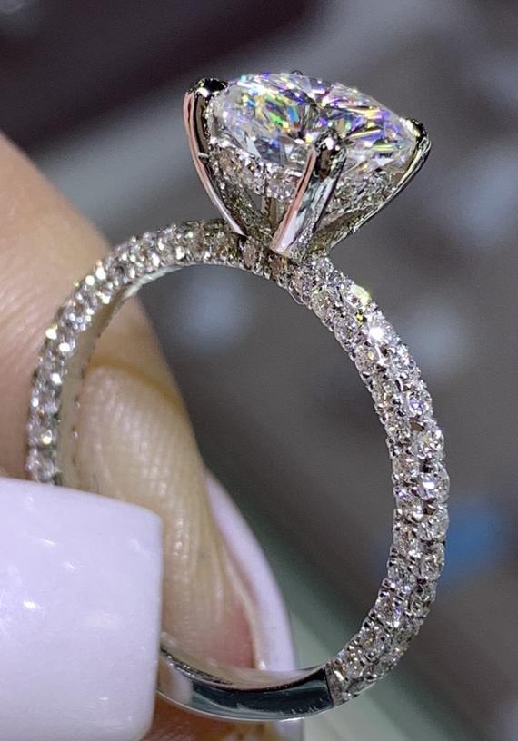 14 Karat White Gold Diamond Under Halo Wedding Ring W Round Etsy Wedding Rings Halo Gold Diamond Wedding Band Dream Engagement Rings